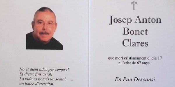 Tàrrega - Enterro del Josep Anton Bonet Clares.